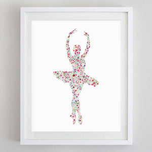 Ballerina 2 Floral Watercolor Print