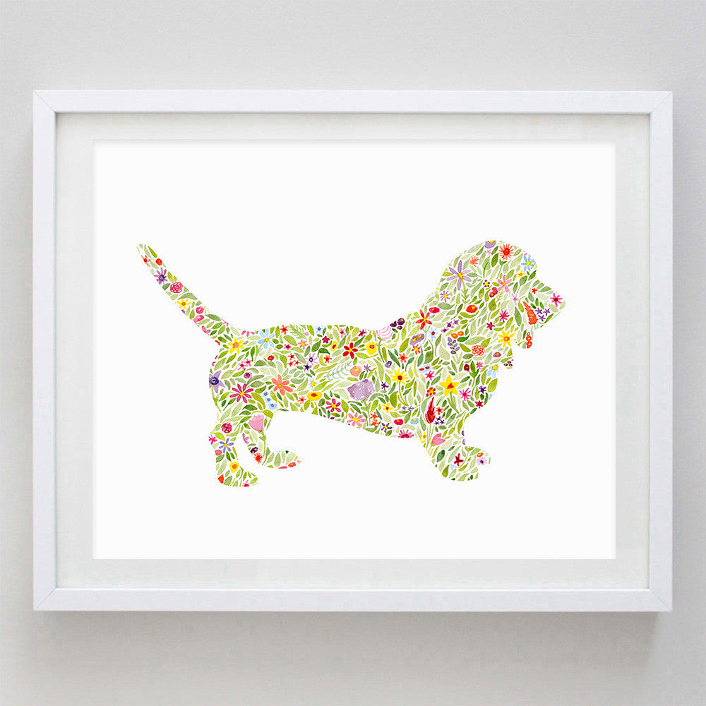 art print - basset hound floral watercolor print - carly rae studio