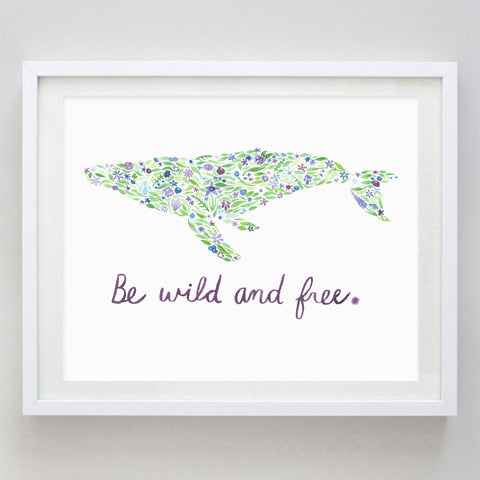 art print - be wild and free humpback whale floral watercolor print - carly rae studio