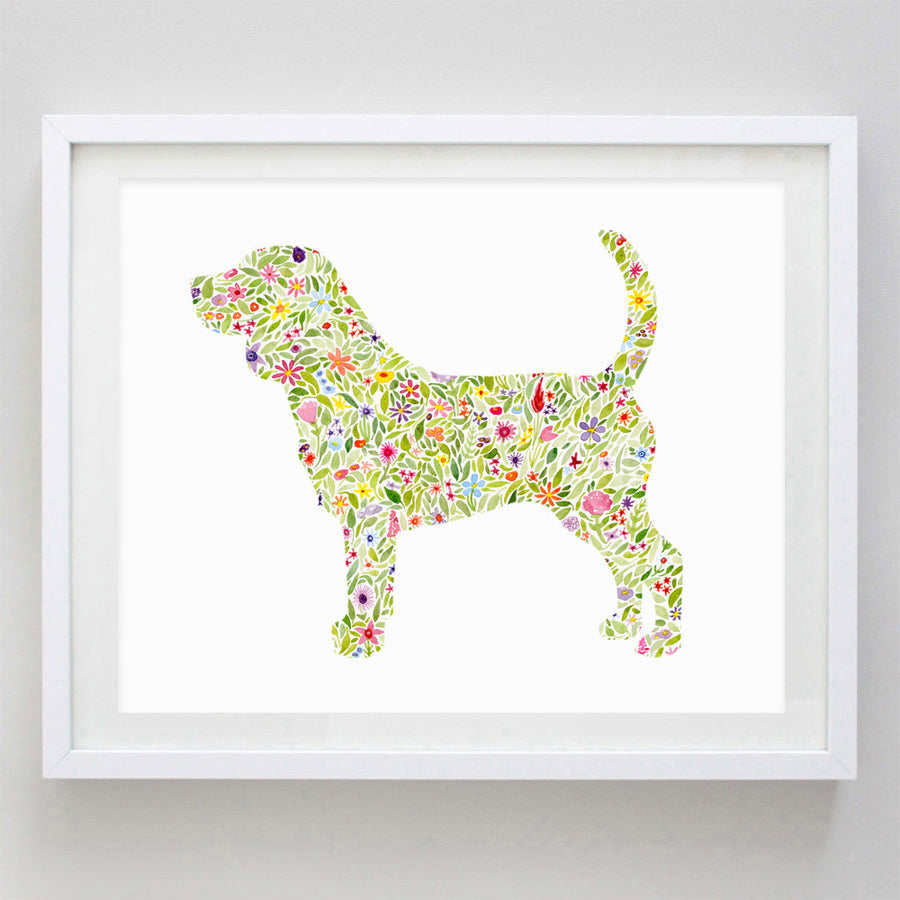 art print - beagle floral watercolor print - carly rae studio