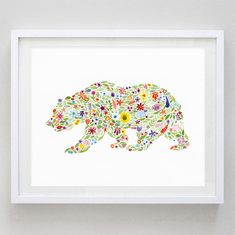 art print - bear floral watercolor print - carly rae studio