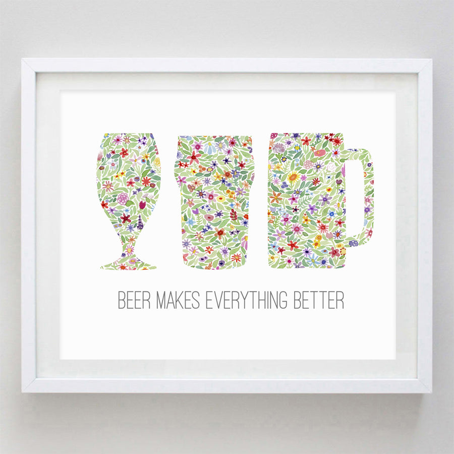 Beer Floral Watercolor Print