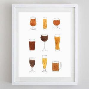 Beer Watercolor Print