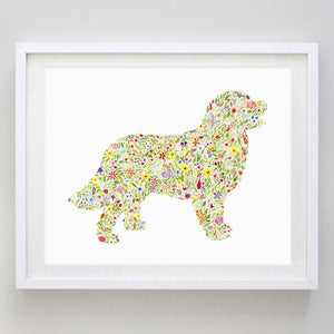 Bernese Mountain Dog Floral Watercolor Print