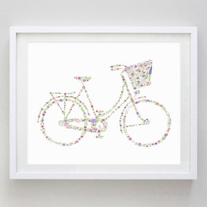 art print - bicycle floral watercolor print - carly rae studio