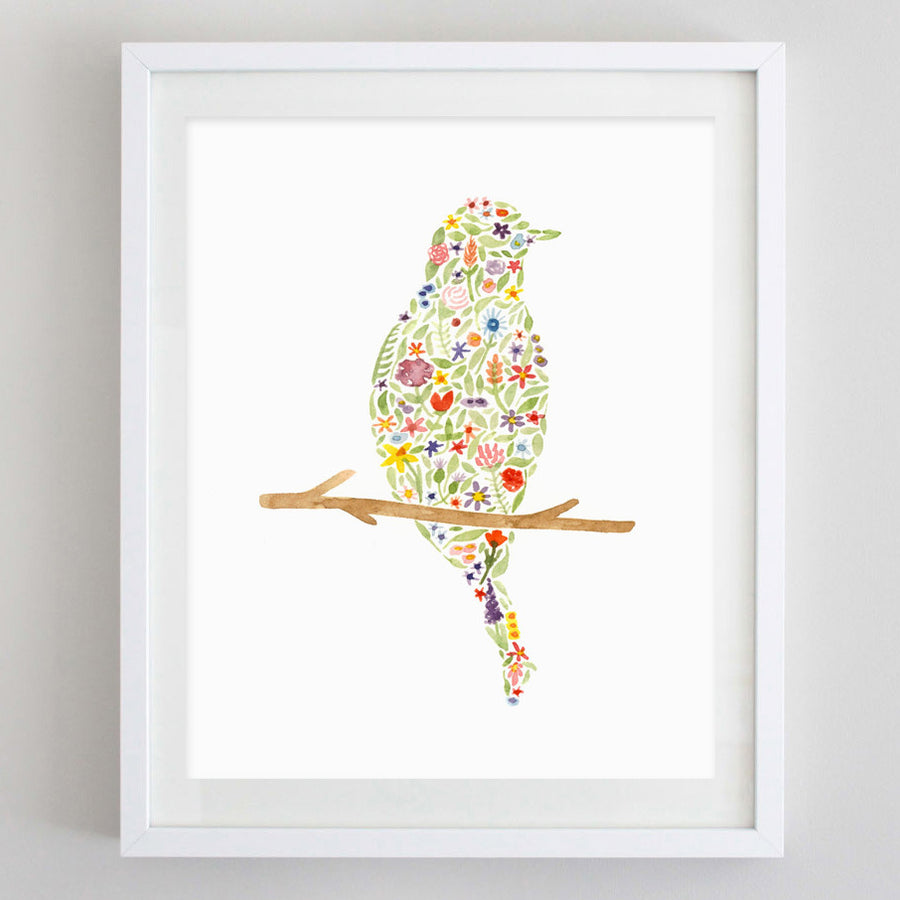 art print - bird floral watercolor print - carly rae studio