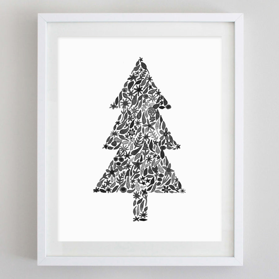 Christmas Tree Black and White Floral Watercolor Print