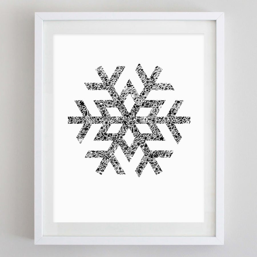 Snowflake Black and White Floral Watercolor Print