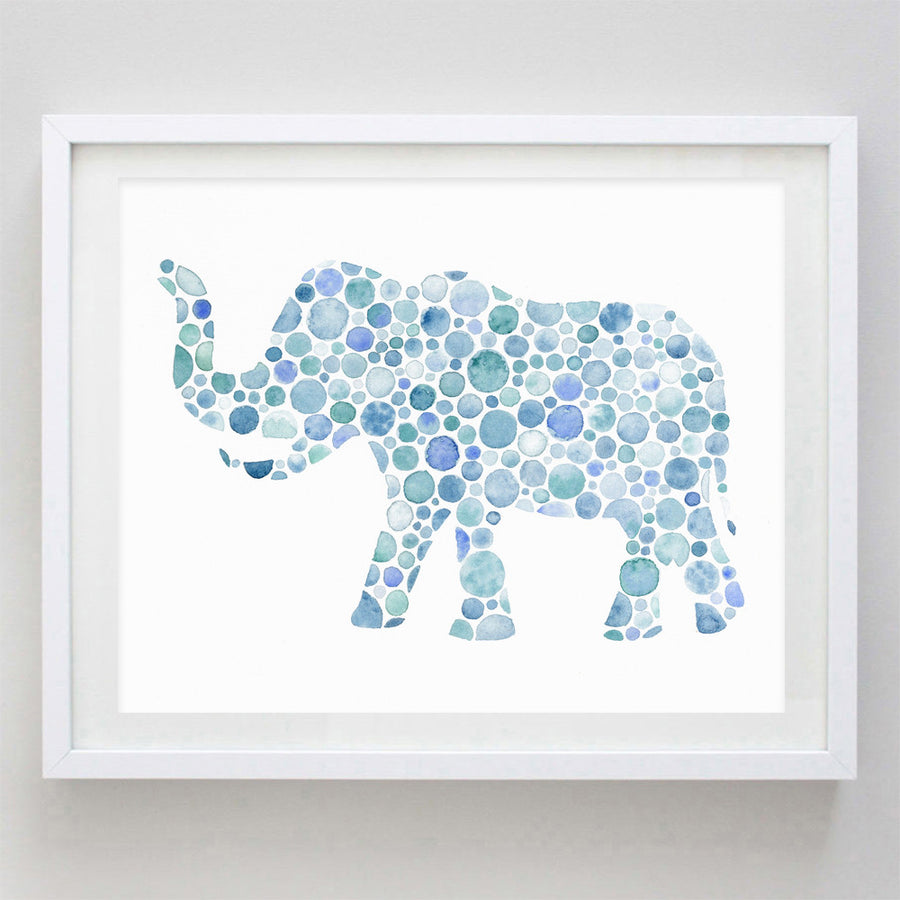 art print - blue elephant watercolor print - carly rae studio