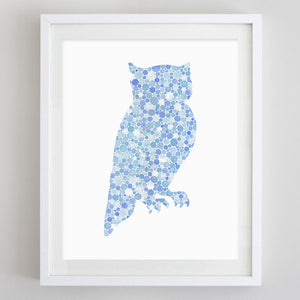 art print - blue owl watercolor print - carly rae studio