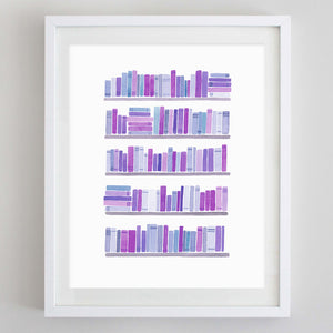 Bookshelf Watercolor Print