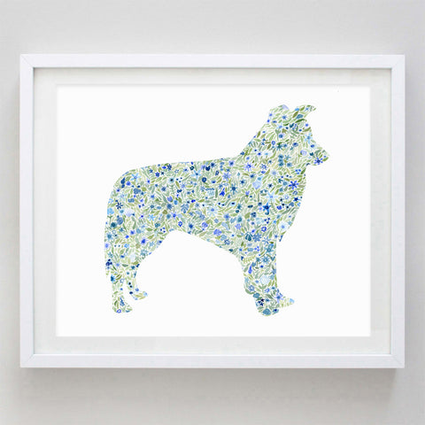 Border Collie Floral Watercolor Print
