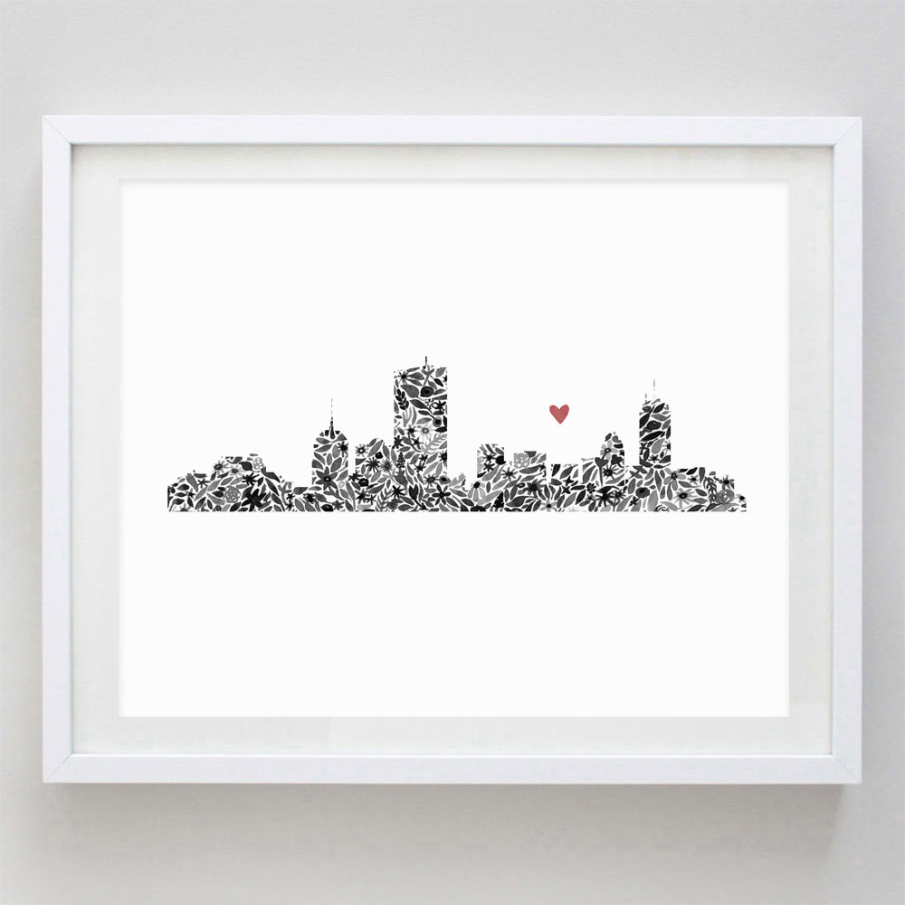 Boston Skyline Floral Watercolor Print