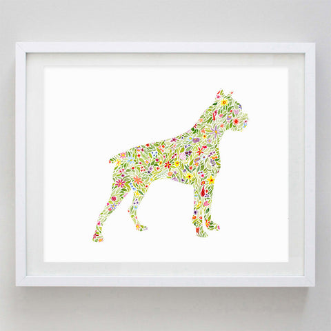 art print - boxer floral watercolor print - carly rae studio