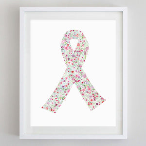 Breast Cancer Ribbon Floral Watercolor Print