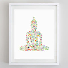 Buddha Yoga Floral Watercolor Art Print