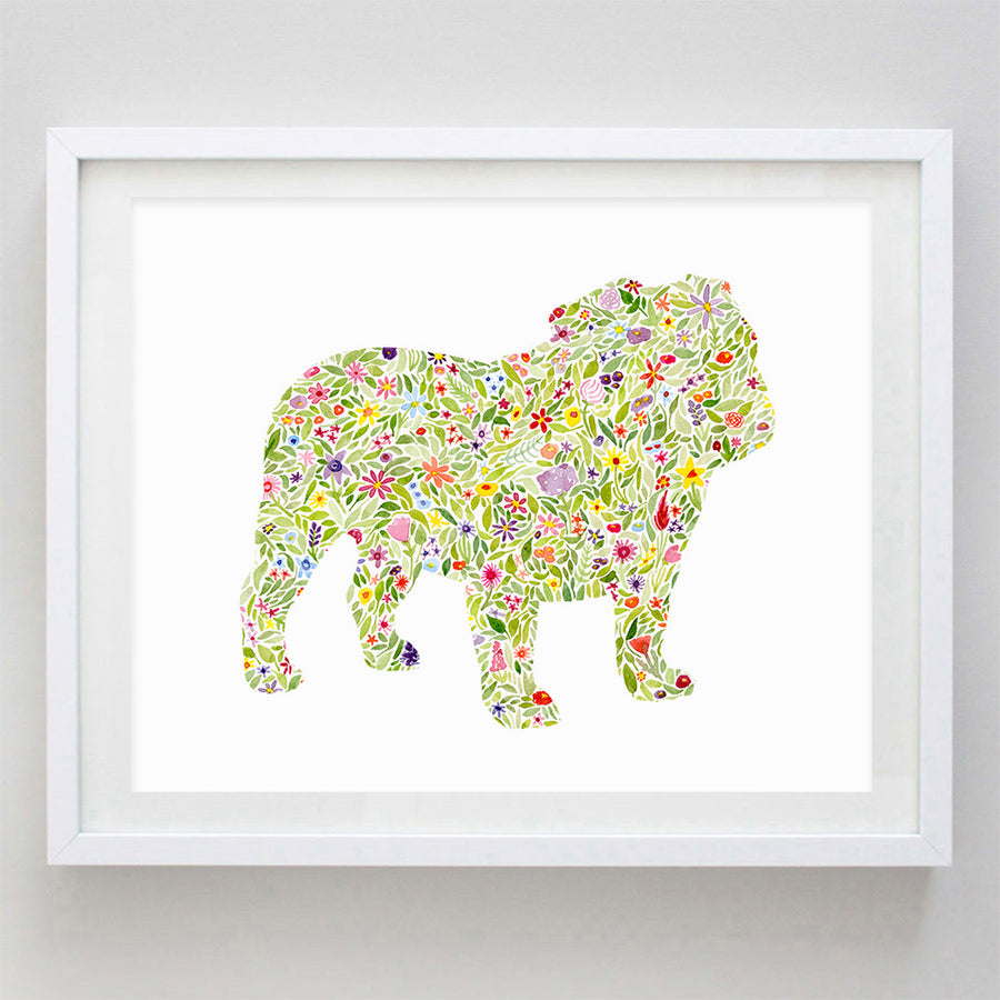 Bulldog Floral Watercolor Print