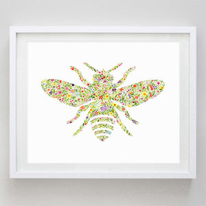 Bumblebee Floral Watercolor Print