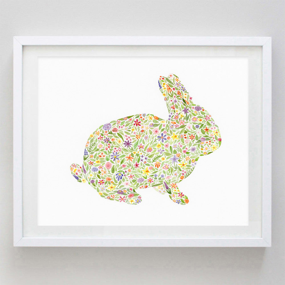 art print - bunny floral watercolor print - carly rae studio