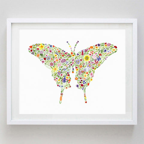 art print - butterfly floral watercolor print - carly rae studio