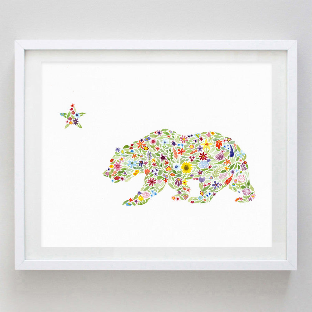 art print - california bear floral watercolor print - carly rae studio