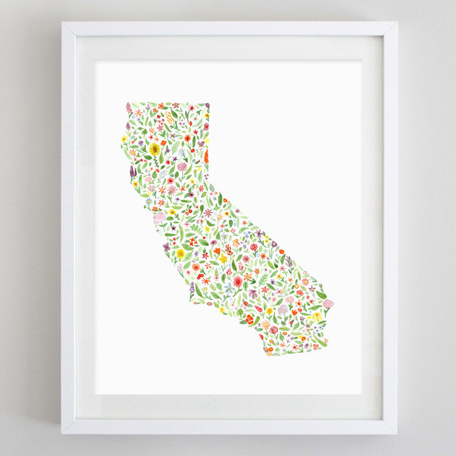 art print - california floral watercolor print - carly rae studio