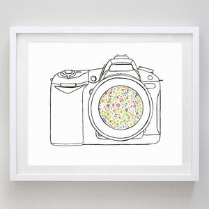 art print - camera floral watercolor print - carly rae studio