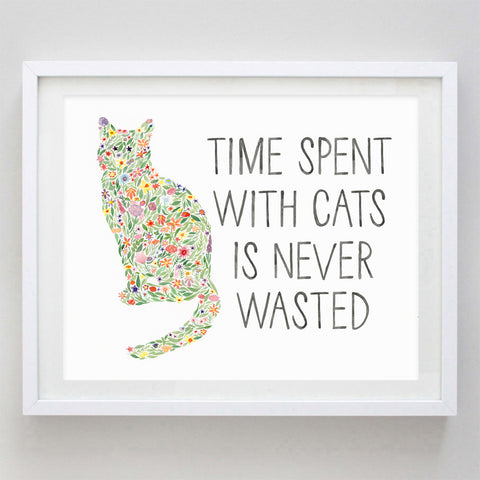 art print - cat lover floral watercolor print - carly rae studio