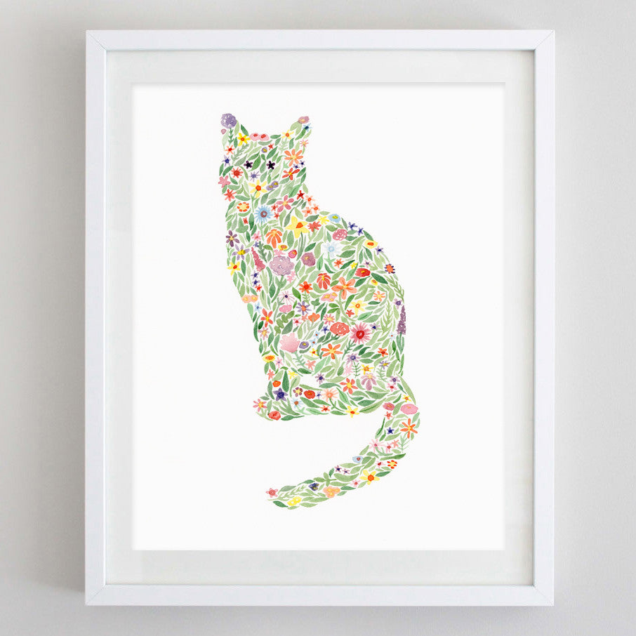 art print - cat floral watercolor print - carly rae studio