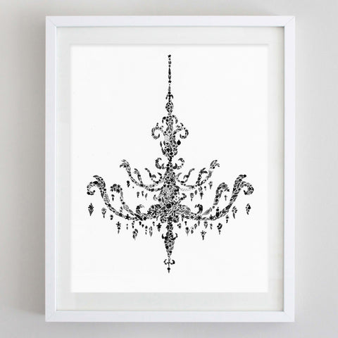 art print - black and white chandelier floral watercolor print - carly rae studio