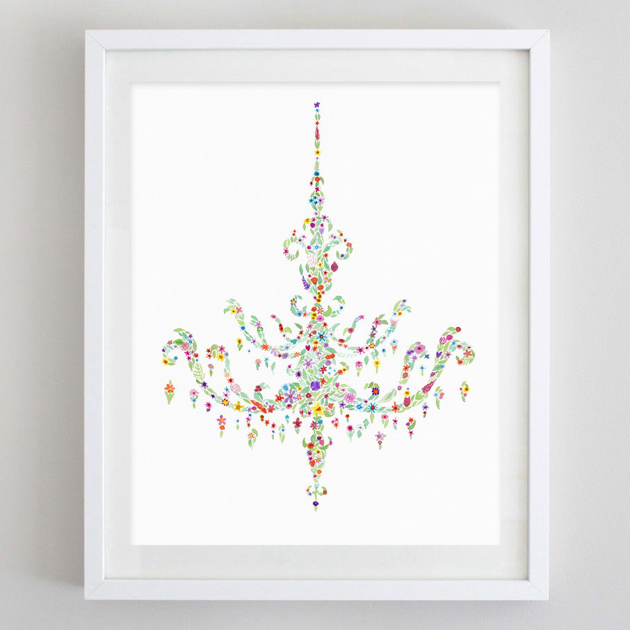 art print - chandelier floral watercolor print - carly rae studio