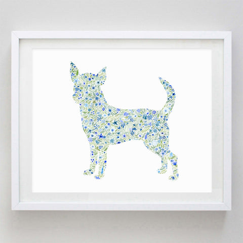 Chihuahua Floral Watercolor Print
