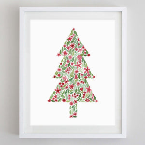 Christmas Tree Floral Watercolor Print