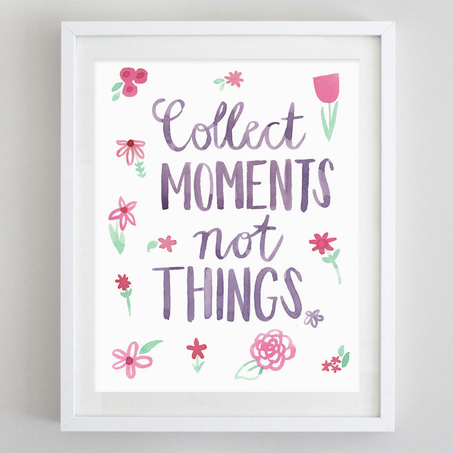 art print - collect moments floral watercolor print - carly rae studio