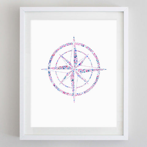Compass Floral Watercolor Art Print - Theta Phi Alpha