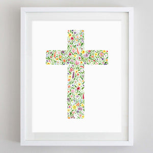 art print - cross floral watercolor print - carly rae studio