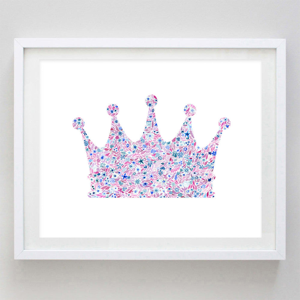 Crown Floral Watercolor Art Print - Zeta Tau Alpha and Alpha Sigma Alpha