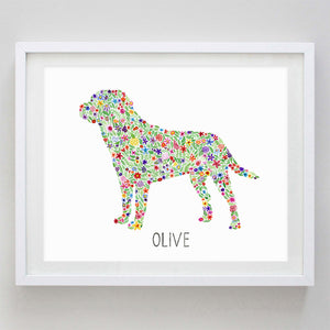 Custom Dog Print Floral Watercolor Print