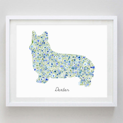 Custom Dog Print (With or Without Name) Floral Watercolor Print