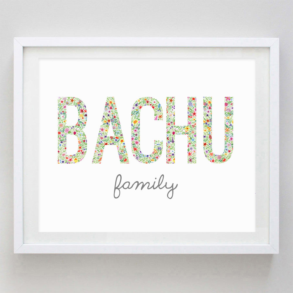 Custom Family Name Floral Watercolor Print