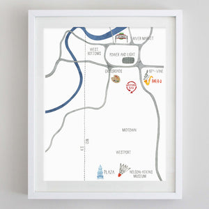 Custom Kansas City Map Watercolor Print