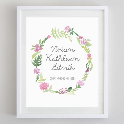 Custom Name Wreath Floral Watercolor Print