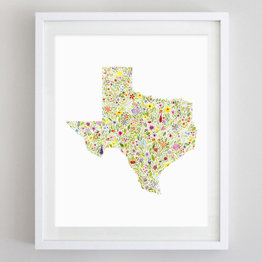 art print - texas floral watercolor print - carly rae studio