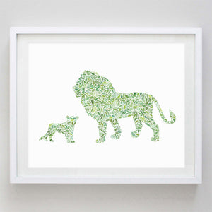 Dad and Baby Giraffe in Green Watercolor Print