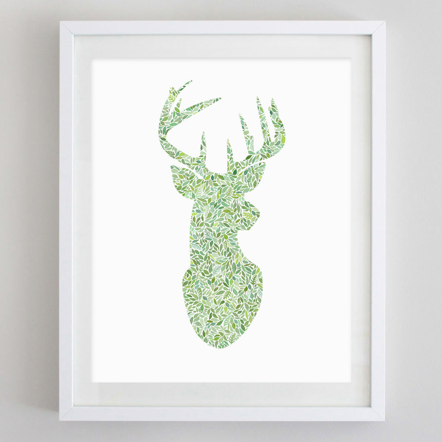Deer Green Watercolor Print