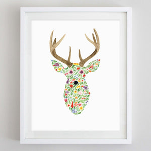 art print - deer floral watercolor print - carly rae studio