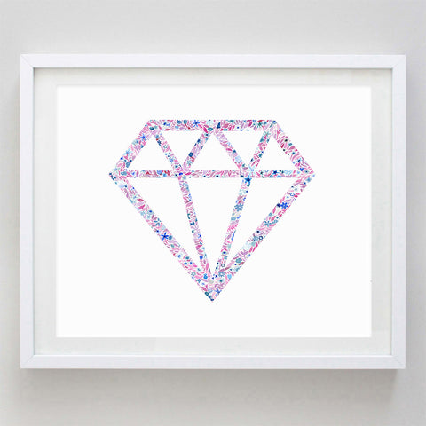 Diamond Floral Watercolor Art Print - Alpha Delta Pi