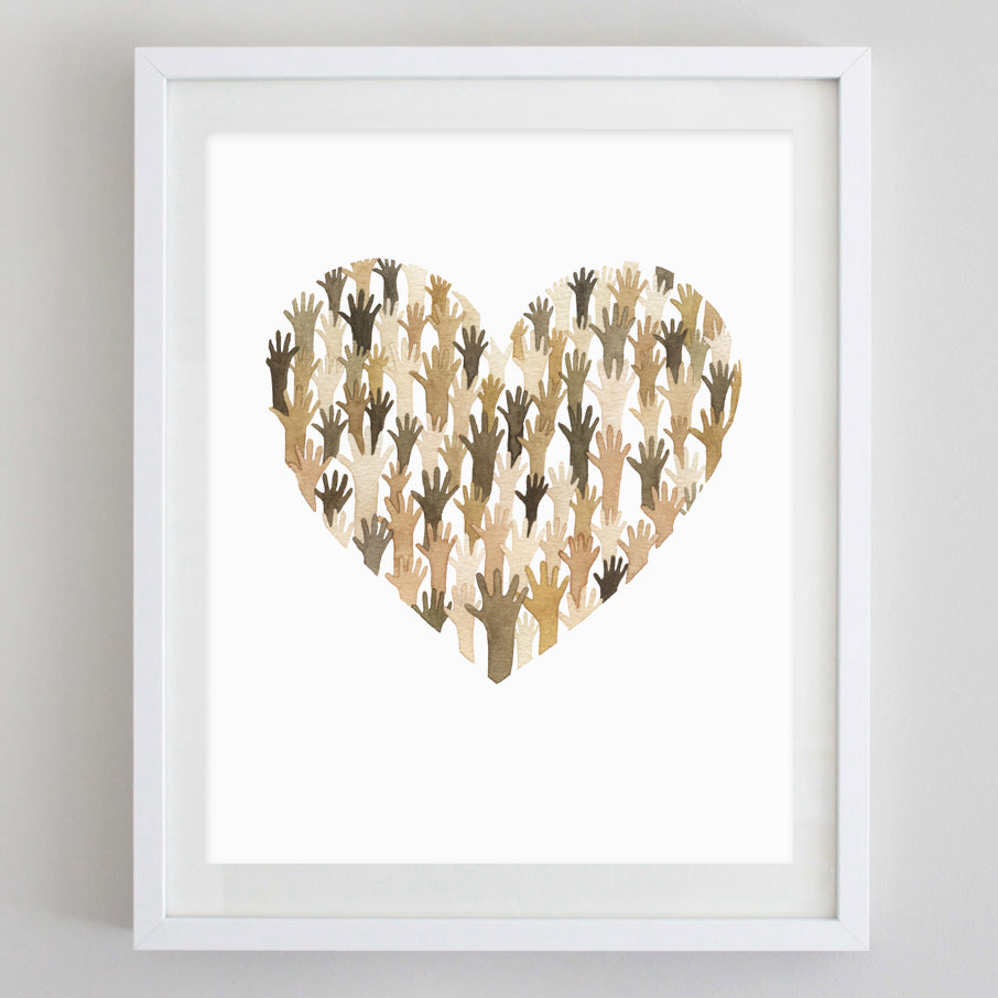 Diversity + Unity Heart Watercolor Print