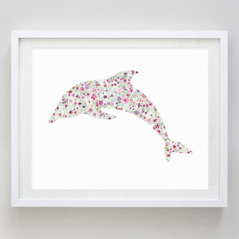 art print - pink dolphin floral watercolor print - carly rae studio