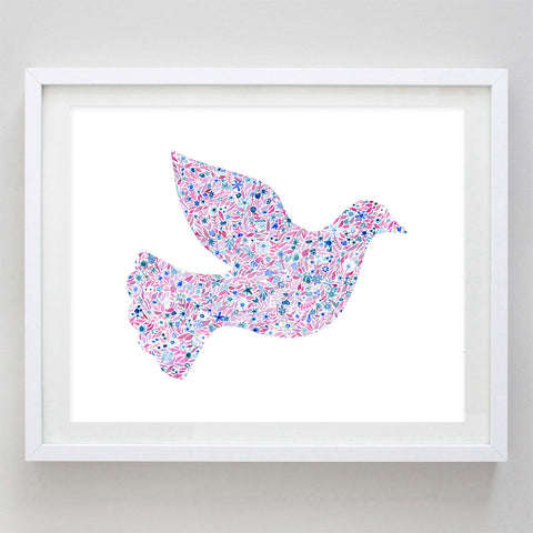 Dove Floral Watercolor Art Print - Sigma Kappa